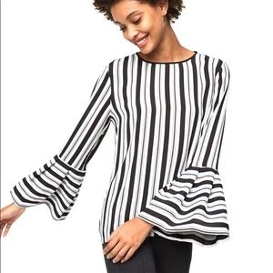 LOFT | Long Bell Sleeve Striped Blouse